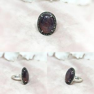 Diamond & Sapphire Slice Sterling Silver Ring